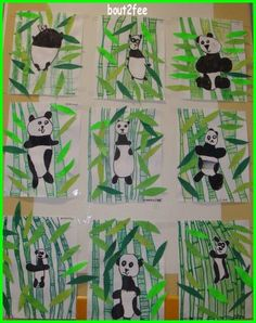 Panda and bamboo directed drawing project. Kindergarten Art Lessons, Art Lessons Elementary, Panda Craft, Classe D'art, First Grade Art, Animal Art Projects, Bamboo Art, Art Classroom, Classroom Projects
