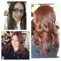 Before and after...dark brown hair transformed into warm copper red ombre with balayage highlights. Hair by Dedra @ The Beauty Lounge Salon in Covina Ca (626) 332-7300