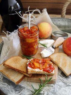 Spicy rosemary tomato peach chutney