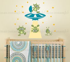 Alien Invasion Wall Decal, Outer Space Decal, UFO Wall Decal for Nursery or…