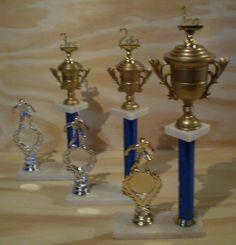 Trofeos para Primer, Segundo y Tercer Puesto, mas uno de Participación. Todos para fútbol (u otro deporte, cambiando la alegoría)