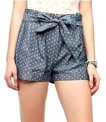Lucca Couture Chambray Paper Bag Short