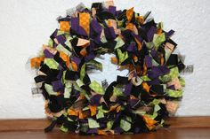 Halloween Time  Mini Rag Wreath in various sizes and colors. $15.00, via Etsy.