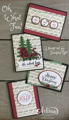Hi Friends! How are you today? Here is a fun handmade card collection I designed with the Oh, What Fun! stamp set and the This Christmas Specialty paper by Stampin' Up! This set is so much fu…