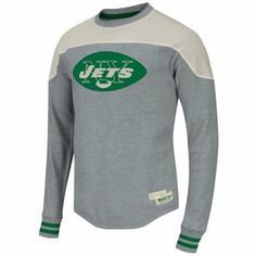 f7dbd3ccee4 Mitchell & Ness New York Jets Vintage Thermal Long Sleeve T-Shirt - Ash