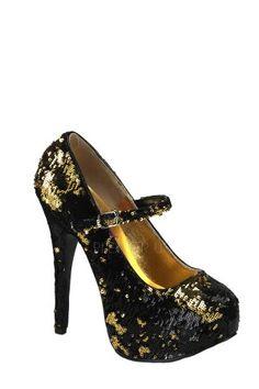 Sequins Maryjane W/Concealed Platform - Black-Gold