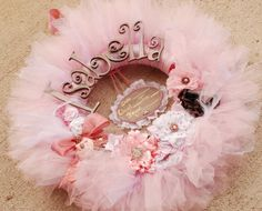 The Gracynn II  Wreath - Announcement Sign-  Vintage Style Shabby Chic Tutu Tulle Wreath- Pink and Neutrals by pickypickypeacock on Etsy