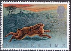 British Stamp 1992 - The Four Seasons. Wintertime 24p  Hare on North Yorkshire Moors