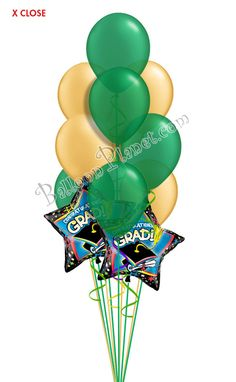 Green & Gold Grad Balloon Bouquet (12 Balloons) Burgundy And Gold, Purple Gold, Green And Gold, Blue And Silver, Graduation Balloons, Graduation Day, Birthday Balloons, Grad Parties, Birthday Parties