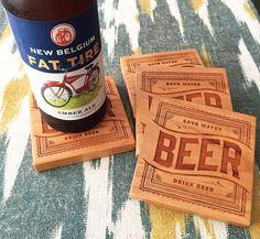 BEER Wood Coasters  Laser Engraved by GRAINHAUS on Etsy