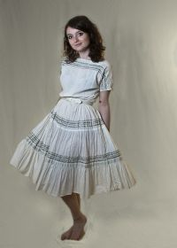 White 1950s American Vintage Prairie Dress with Silver Trimmings from Upstaged