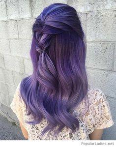 Purple hair and a messy braid