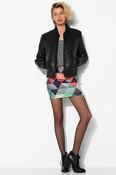 BamBam Geometric colorful Bodycon Skirt   Urban Outfitters