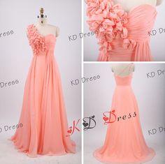 Custom Make One-shoulder Sweetheart Chiffon Full Floor Length Prom Dress Bridesmaid Dress Simple Bridesmaid Dress Long Prom Dress