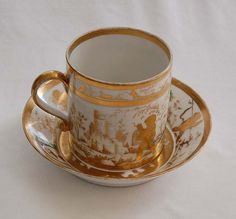 c1790, signed (Perche) OLD PARIS - Cup & Saucer, decorated in gold leaf