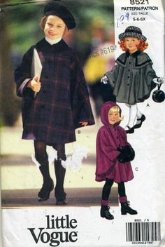 Vintage Little Vogue 8521 UNCUT Toddlers Winter Coat, Caplet, Hooded Cape Pattern. $5.00, via Etsy.