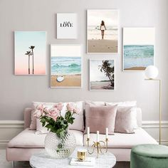 Tropical Ocean Dreams Gallery Wall Art Summer Beach Surf Sunset Minimalist Nordic Style Fine Art Canvas Prints For Modern Home Decor - - Decor, Room, Cool Wall Decor, Wall Decor Living Room, Art Gallery Wall, Summer Wall Decor, Home Decor, Bedroom Decor, Cool Walls