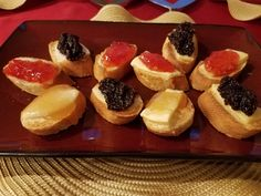 Let's get ready for the holiday season by making some simple appetizers based on some earlier recipes. I am going to make a toasted cheese appetizer with two types of cheeses and 3 types of t…