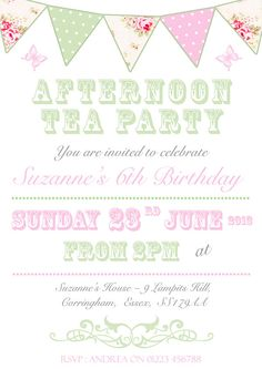Printable tea party birthday invitation 425 x 55 4x6 5x7 10 personalised birthday invitations bunting carnival vintage tea party shabby afternoon stopboris Images