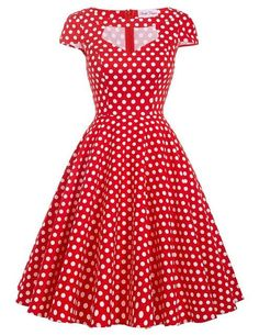 Women Summer Dress 2017 Short Sleeve Hollowed Retro Vintage Cotton Flower Polka Dots Pattern floral Short 60s 50s Dresses