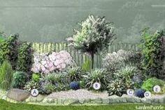 Rabata bylinowa w cieniu – przykład 2, projekt wykonany w Garden Puzzle (GardenPuzzle.pl) A – funkia 'Patriot' B – manna mielec 'Variegata' C – ułudka wiosenna D – lobelia przylądkowa E – przywrotnik ostroklapowy