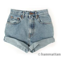 "ALL SIZES ""TURN"" Vintage Levi high-waisted denim shorts blue cuffed... (79 BRL) ❤ liked on Polyvore featuring shorts, bottoms, pants, short, high-waisted jean shorts, high waisted short shorts, blue high waisted shorts, denim short shorts and jean shorts"