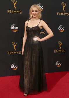 Sophie Turner in a Valentino dress, Forevermark Diamonds jewelry, and Christian Louboutin shoes at the #2016Emmys