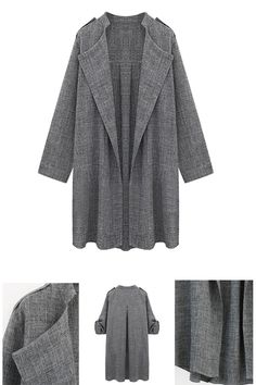 Gray Lapel Roll Up Sleeve Open Front Trench Coat