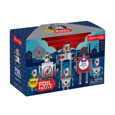 Children will love the shiny foil embellished illustration of robots on the Robotics Foil Puzzle from Mudpuppy. This 100 piece puzzle comes in a sturdy box that is also embellished with foil! This puzzle is a perfect gift for children ages 5 + Sensory Games, Early Childhood Centre, Learning Patience, 100 Piece Puzzles, Books For Boys, Learning Through Play, Puzzles For Kids, Wooden Puzzles, Puzzle Pieces