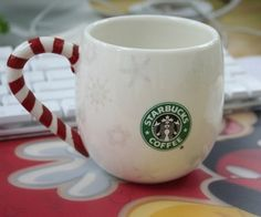 Starbucks has used the word jolly on a number of their Christmas coffee mugs including on a 2007 red and white striped candy cane or peppermint themed mug. Description from treasures-by-brenda.squidoo.com. I searched for this on bing.com/images