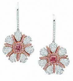 Pink & White Flower Earrings
