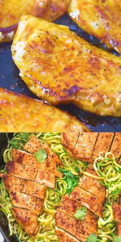 This incredibly delicious Quick & Easy Chicken and Zoodles makes a light, yet filling, dinner. Paprika-seasoned chicken pairs so well with garlic zoodles. Vegan Dinner Recipes, Keto Recipes, Cooking Recipes, Healthy Recipes, Cooking Cake, Cooking Pasta, Girl Cooking, Cooking Gadgets, Keto Desserts