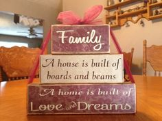 Family saying primitive wood block set A by FromTheMillWoodBlock, $18.95
