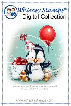 """""""Penguin Birthday"""" digital stamp designed by Crissy Armstrong for Whimsy Stamps.All Whimsy Stamps digital image stamps are JPG images for optimal print quality. Digital images can be flipped, r. Birthday Greetings, Birthday Cards, Penguin Birthday, Penguin Party, Penguin Love, Image Stamp, Whimsy Stamps, Bird Drawings, Drawing Birds"""