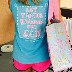 Let Your Dreams Set Sail Tank with the Lilly Pulitzer Jellies Be Jammin' market tote. www.monogramsmarkingsandmore.com