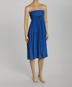 Look what I found on #zulily! Blue Cross-Lace Strapless Pam Dress by 3R Street Wear #zulilyfinds