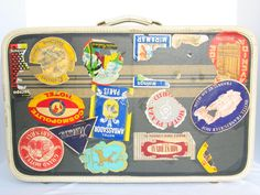Retro AMERICAN TOURISTER Suitcase Jetsetter's Luggage Worldwide Travel Stickers vintage 1950's  made in USA in very good vintage condition. by PinkyLaRoux on Etsy