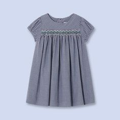 Gingham dress with smocking blue white Girl - Baby Clothes - Jacadi Paris