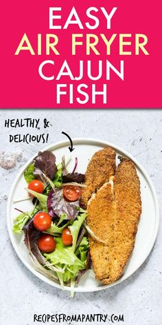 Crispy Golden Air Fryer Fish is perfectly crunchy on the outside and delightfull. Crispy Golden Air Fryer Fish is perfectly crunchy on the outside and delightfully light and flaky on the inside. Full of zesty Cajun flavours, this is. Easy Potluck Recipes, Ww Recipes, Lunch Recipes, Seafood Recipes, Appetizer Recipes, Healthy Recipes, Tilapia Recipes, Recipies, Air Fryer Fish Recipes