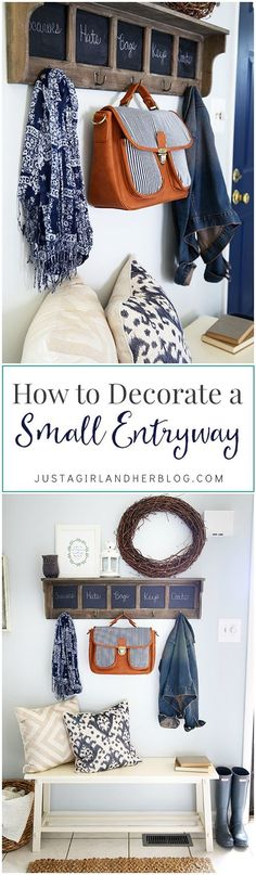 Love these ideas for decorating a small entryway! It would be easy to change items out seasonally with this arrangement too! | http://JustAGirlAndHerBlog.com