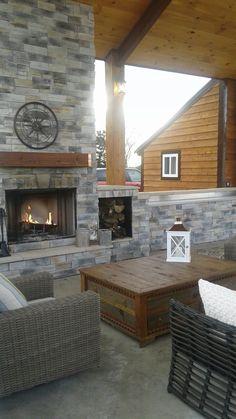 outdoor fireplace pavillion...copper strip for mantel- onlinemetalsupply.com