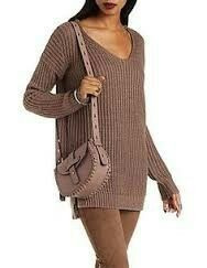 Chunky Knit Pullover Sweater by Charlotte Russe - Deep Taupe Brown Sweater, Charlotte Russe, Pullover Sweaters, Cover Up, Cold Shoulder Dress, Long Sleeve, Shopping, Tops, Women
