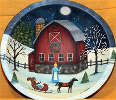 This solid wood bowl features a winter scene of a red country barn lit up by a bright full moon. A sleek black horse pulling a sleigh patiently waits for a farmer while his wife waves goodbye.  The bowl measures about 11 inches in diameter and 3 inches in depth. The exterior of the bowl is a mottled dark blue.  PLEASE NOTE: Each bowl is individually made to order. The one you receive may vary slightly from the one pictured.  The bowl will be painted and shipped within four weeks of the date…