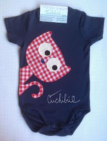 Cuchibú: Bodies divertidos para bebés con aplicaciones de tela bordadas a mano