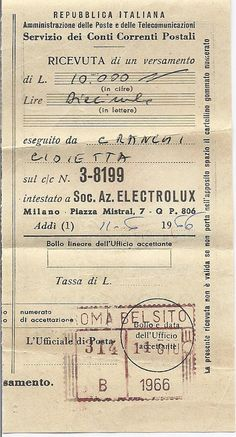 Vintage Italian Payment Receipt, Gioetta Granchi 1966 - Get your journal on - Vintage Crafts, Vintage Ephemera, Vintage Paper, Vintage Birds, Vintage Stuff, Journal Cards, Junk Journal, Journal Ideas, Bullet Journal