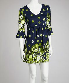 Take a look at this Navy & Lime Daisy Three-Quarter Sleeve Dress by Ice Silk on #zulily today!