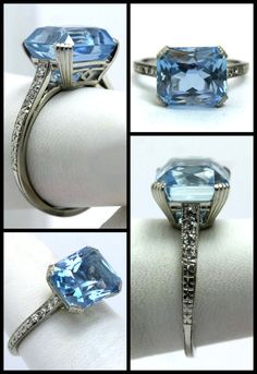 ~Art Deco aquamarine and diamond ring by Raymond Yard~ It dates to the 1920′s. That aquamarine is just under 4 carats, and the side diamonds and engraved platinum are simply divine.