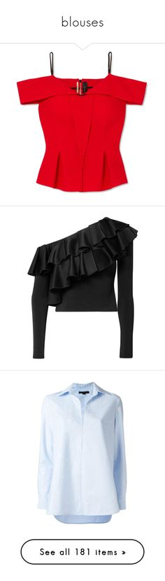 """blouses"" by evenaka on Polyvore featuring tops, shirts, cut shoulder tops, shoulder cut out shirt, cut-out shoulder tops, open shoulder tops, red cold shoulder top, blouses, black and zip crop top"