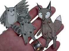 This is a great idea-Articulated Animal Paper Dolls Woodland Creatures Owl Fox Jenny Baughan Woodland Critters, Woodland Creatures, Woodland Animals, Paper Puppets, Paper Toys, Paper Art, Paper Crafts, Paper Doll Craft, Puppet Patterns