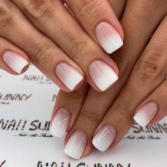 27 best ideas on how to do ombre nails designs + tutorials - Nageldesign - Nail Art - Nagellack - Nail Polish - Nailart - Nails - French Fade Nails, Faded Nails, Ombre French Nails, Gel Ombre Nails, Gel French Tip Nails, Umbre Nails, Short French Nails, Ombre Nail Colors, French Tip Nail Designs